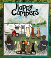 Personalized dog & owners camping quilt blanket gift idea for the whole family, dog lovers - 7 Dogs & Couple - Happy Campers