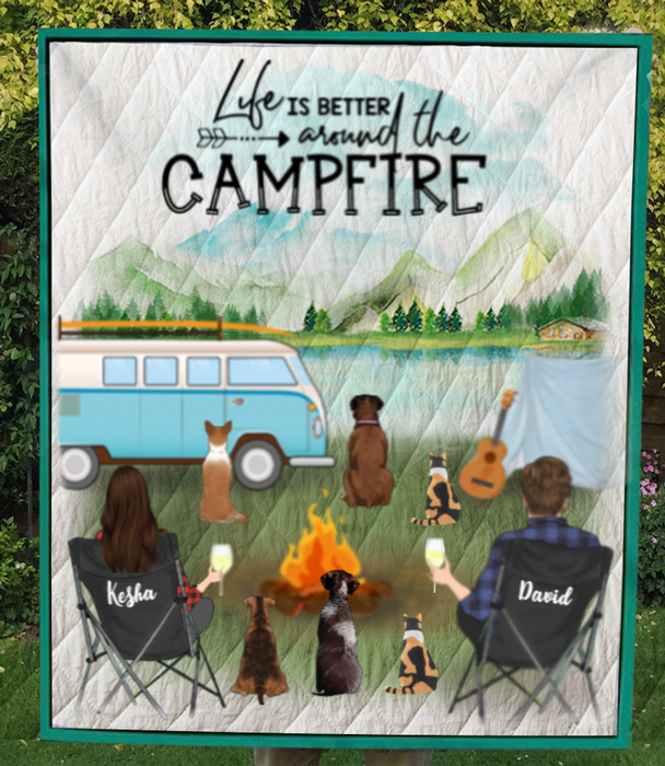 Custom personalized cat dog & owners camping blanket gift idea for the whole family, cat dog lovers - 4 dogs, 2 cats & Couple Camping Quilt Blanket - Life is better around the campfire