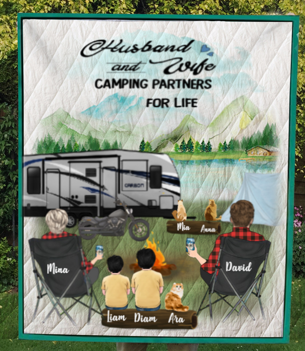 Custom Personalized  Cat Owners Blanket Couple and Family -Personalized Camping Quilt Blanket  - Full Option