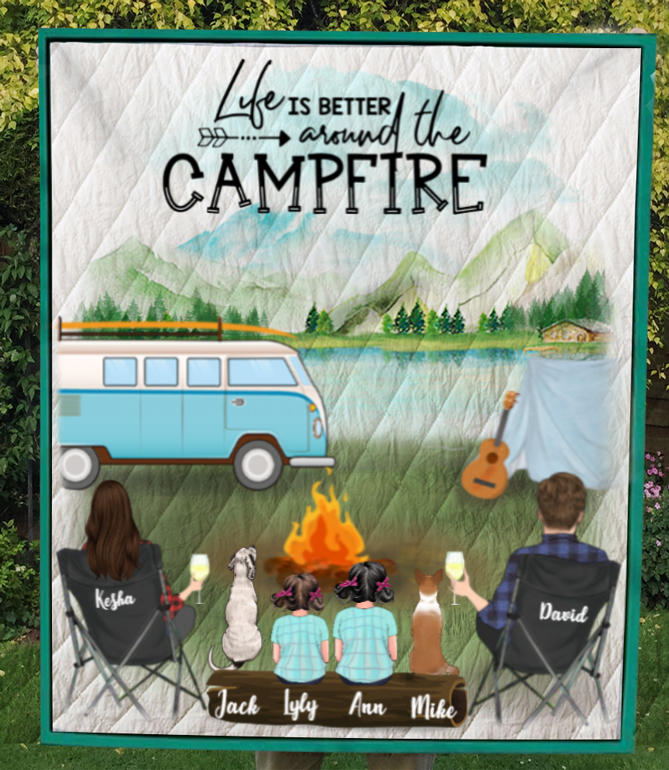 Personalized camping blanket gift idea for the whole family, dog lovers - Parents with 2 kids & 2 dogs quilt blanket - Father's day gift - Mother's day gift from husband to wife