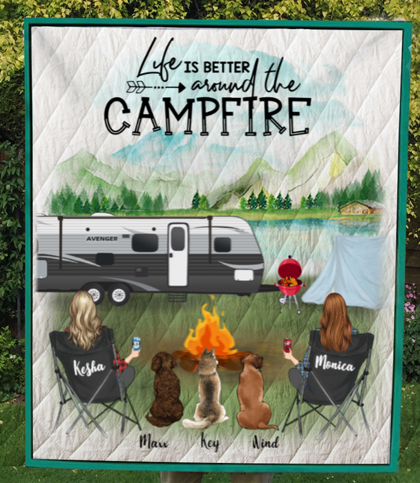 Personalized Gift For Couple Same Sex - Personalized Camping Quilt Blanket - 2 Women & 3 Dogs Or Cats - Life Is Better Around The Campfire