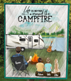 Personalized Blanket Gift Idea For Dad, Single Dad - Custom Camping Quilt Blanket - Dad With 2 Kids And 1 Dog - Life is better around the campfire