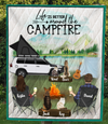 Personalized cat dog & owners camping blanket gift idea for the whole family, cat dog lovers - 4 Pets & Couple Camping Quilt