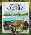 Woman And Woman With 2 Dogs And 1 Cat  - Personalized Camping Quilt Blanket - V5, Life is around the campfire
