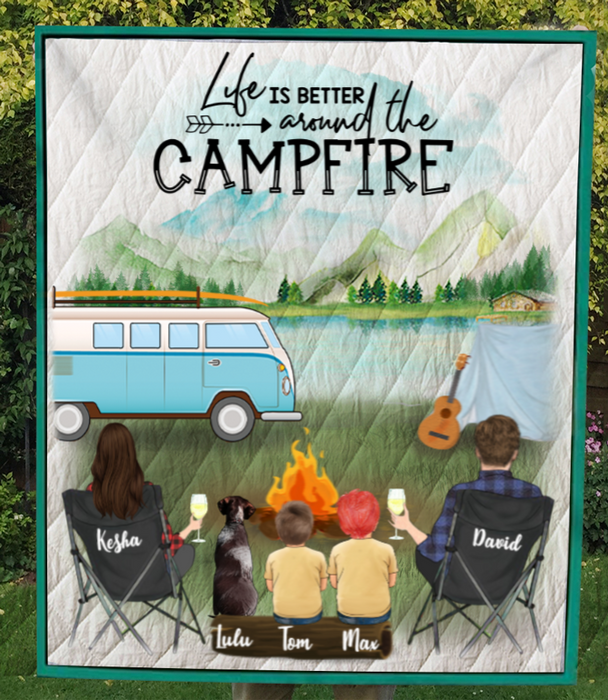 Personalized Camping Blanket, Gift Idea For The Whole Family - Couple/Parents With Children And Dogs Quilt Blanket V5.2 - Life is better around the campfire