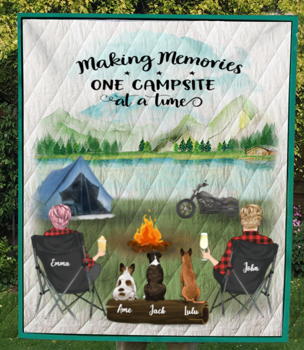 Family With 3 Dogs  Personalized Camping Blanket - V5.3, Life is better around the campfire - No Camper