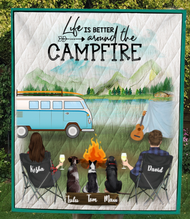 Family With 3 Dogs - Personalized Camping Quilt Blanket - V5.2, Life is around the campfire