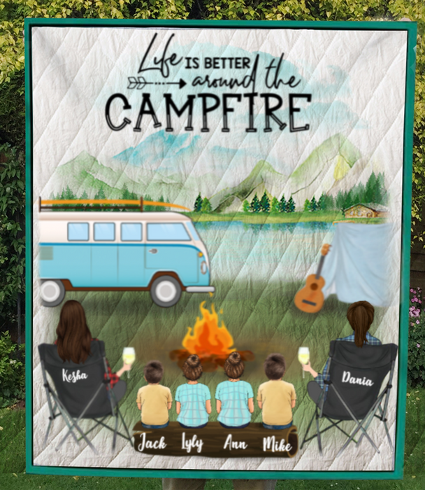 Personalized Gift For Same Sex Couple - Personalized Camping Blanket - 2 Women with 4 Kids Camping Blanket - Happy Campers