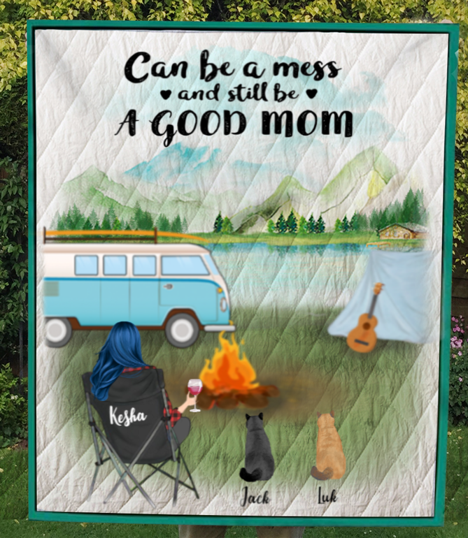 Personalized Mother's Day gift for cat lovers - Mom & 3 cats camping quilt blanket - Cat mom Mother's day - Can be a mess and still be a good mom