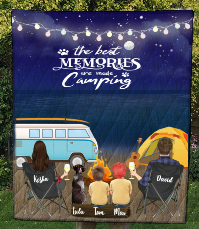 Personalized blanket gift idea for the whole family, dog lovers - Parents with 2 kids & 1 dog night beach camping quilt blanket - Father's day gift - Mother's Day Gift From Husband To Wife