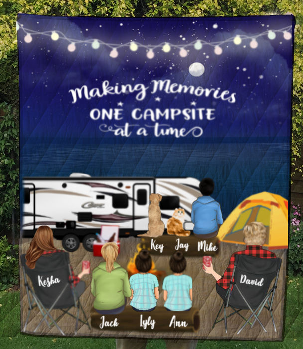 Family With Kids, Teens And Pets  - Camping On The Beach Quilt Blanket - V5, Making memories one campsite at a time - Full Option