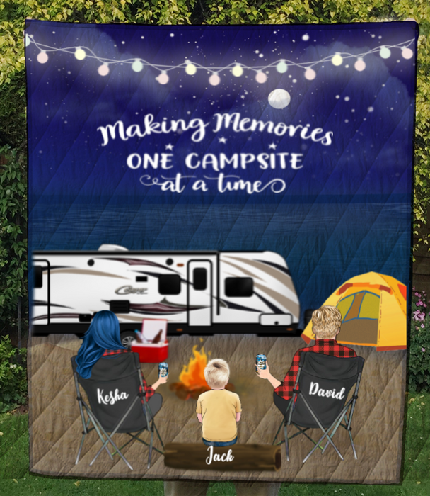 Personalized Family camping blanket gift idea for the whole family, camping lovers - Parents & 1 Kid night beach camping quilt blanket