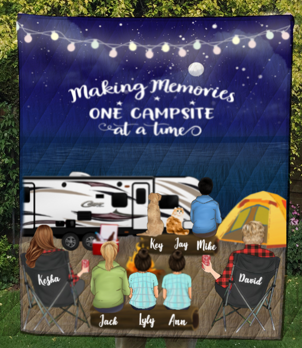 Personalized cat, dog & owners camping blanket gift idea for the whole family, cat dog lovers - Parents, 2 Kids, 2 Teens & 2 Pets night beach camping quilt - Making memories one campsite at a time