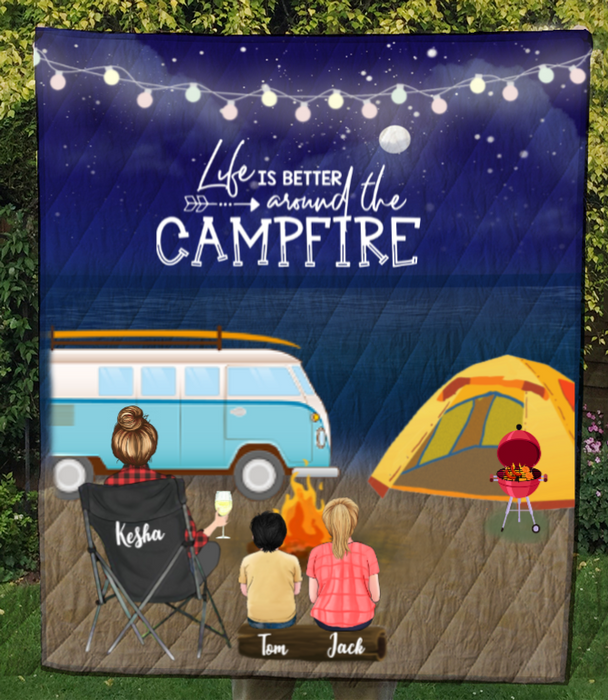 Personalized Blanket Gift For Single Mom - Best Camping Quilt - Single Mom & 2 Kids night beach camping