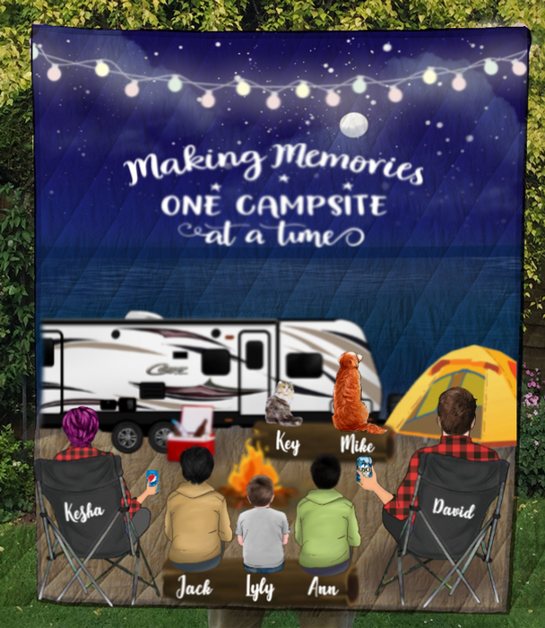 Family With 2 Teens, 1 Kid And 2 Pet - Camping On The Beach Quilt Blanket - V5, Making memories one campsite at a time