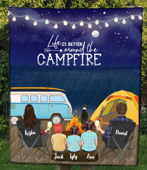 Custom personalized dog & owners camping blanket gift idea for the whole family, dog lovers - Parents, 3 Kids & 1 Dog night beach camping quilt