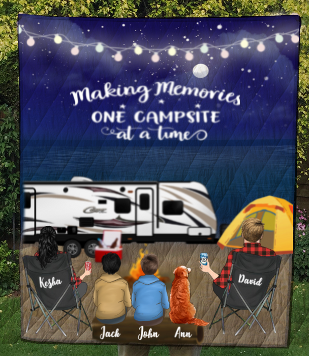 Family With 2 Teens And 1 Pet - Camping On The Beach Quilt Blanket - V5 , Making memories one campsite at a time