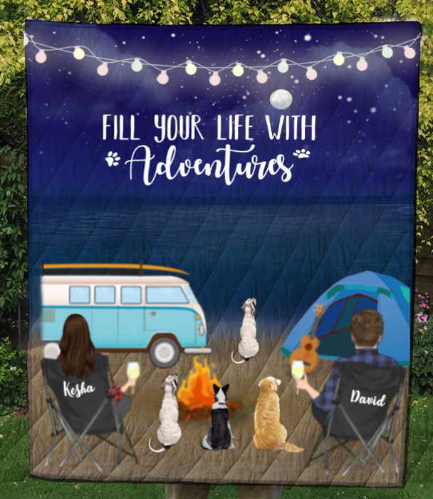 Personalized dog & owners camping blanket gift idea for the whole family, dog lovers - 4 Dogs & Couple night beach camping quilt