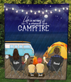Personalized Family Blanket Gift Idea For The Whole Family, Camping Lovers - Parents & 2 Kids Family Night Beach Camping Quilt - Camping partners for life