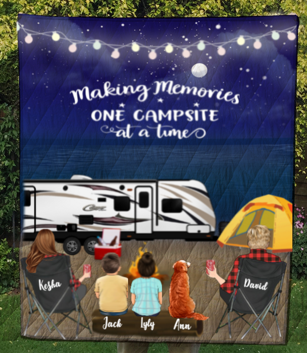 Family With 2 Kids And 1 Pet  - Camping On The Beach Quilt Blanket - V5, Making memories one campsite at a time