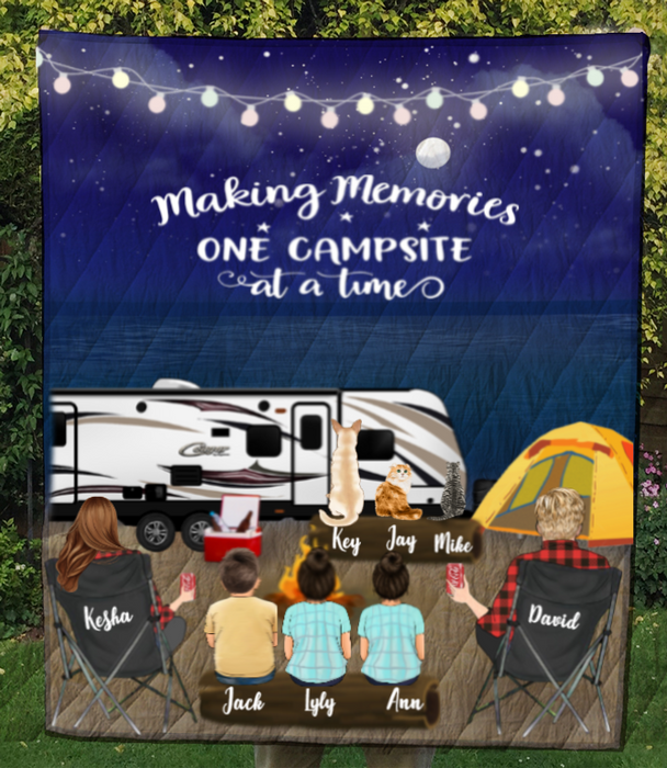 Personalized cat, dog & owners camping blanket gift idea for the whole family - Parents, 3 Kids & 3 Pets night beach camping quilt blanket - - Father's day gift - Mother's day gift from husband to wife