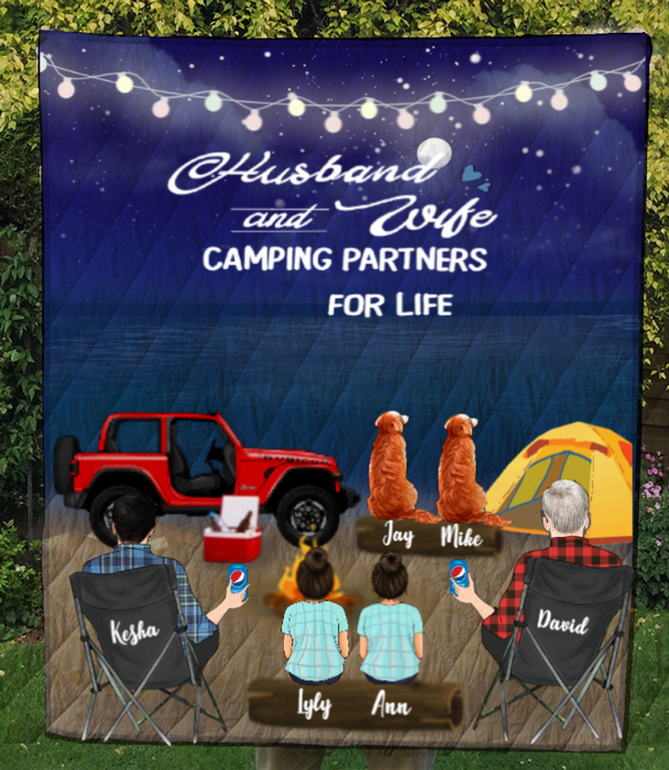Custom Blanket Gift For Same sex Couples - Personalized Camping Quilt Blanket - Man - Man with 2 kids & 2 pets - Camping partners for life