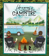 Family With 3 Pets - Camping Fleece Blanket