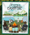 Family With 3 Kids, 2 Dogs & 1 Cat- Personalized Camping Blanket - V5.2, Life is better around the campfire
