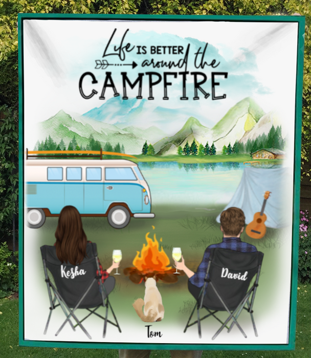 Personalized Cat & Owners camping fleece blanket gift idea for the whole family, Cat lovers - Couple & 1 Cat Camping