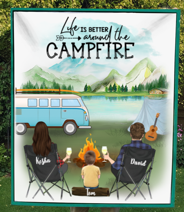 Personalized camping fleece blanket gift idea for the whole family - Parents & 1 kid - Father's day gift - Mother's day gift from husband to wife