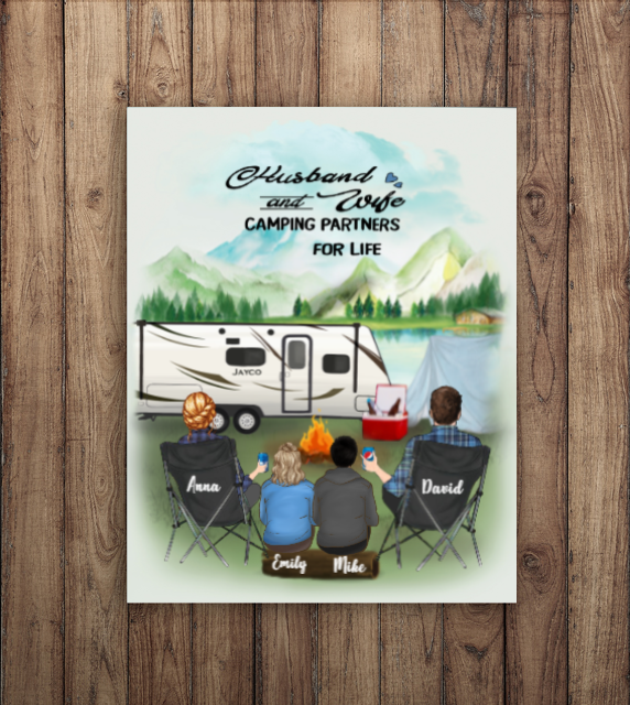 Personalized Family Poster - Best personalized gift for the whole family, camping lovers - Parents with 2 Teens - Camping Poster