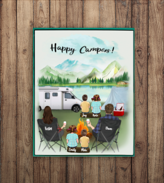 Personalized Family Poster - Best personalized gift for the whole family, camping lovers - Parents & 4 Kids camping poster - Happy Campers