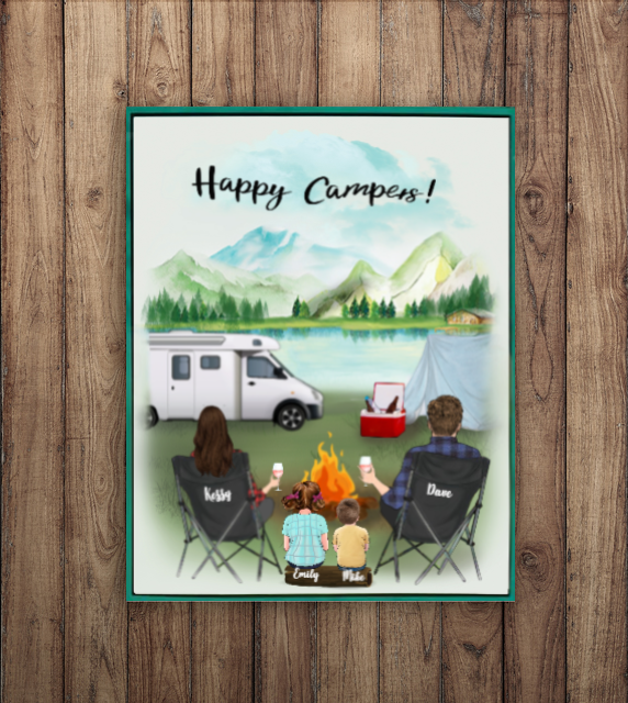 Personalized Family Poster - Best personalized gift for the whole family, camping lovers - Parents & 2 Kids camping poster - Happy Campers
