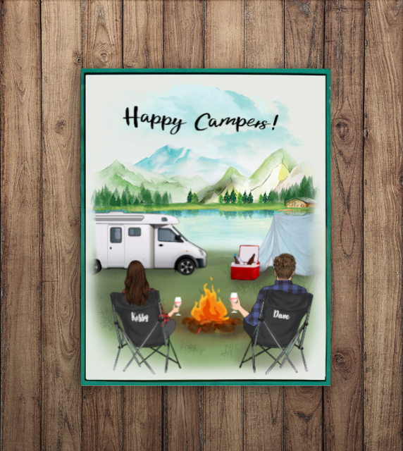 Personalized Poster gift for couple, camping lovers - Valentines day gift for him her boyfriend girlfriend - Couple camping poster - Happy Campers