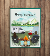 Personalized Family Poster - Best personalized gift for the whole family, camping lovers - Parents & 3 Kids camping poster - Happy Campers