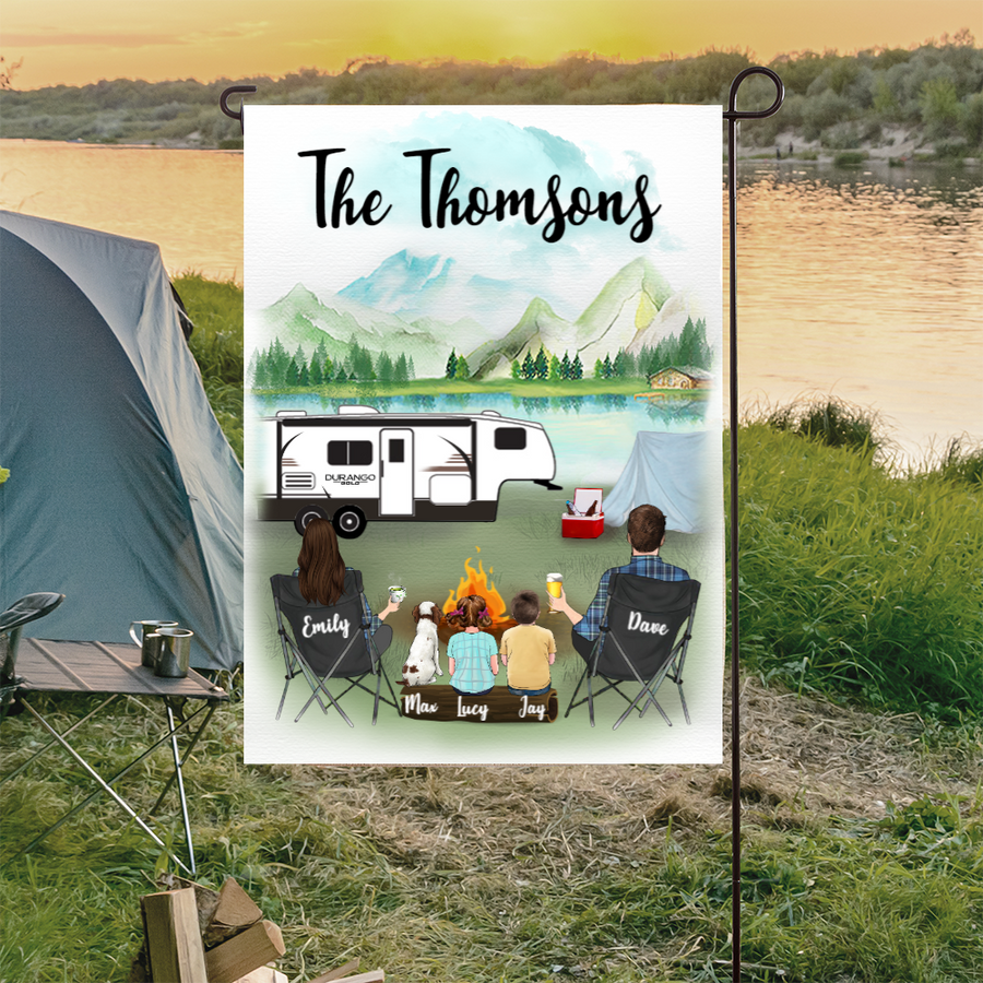 Custom family flag sign - Personalized camping flag gift idea for the whole family, dog lovers, camping lovers - 2 Kids & Dog personalized banner - Making memories one campsite at a time