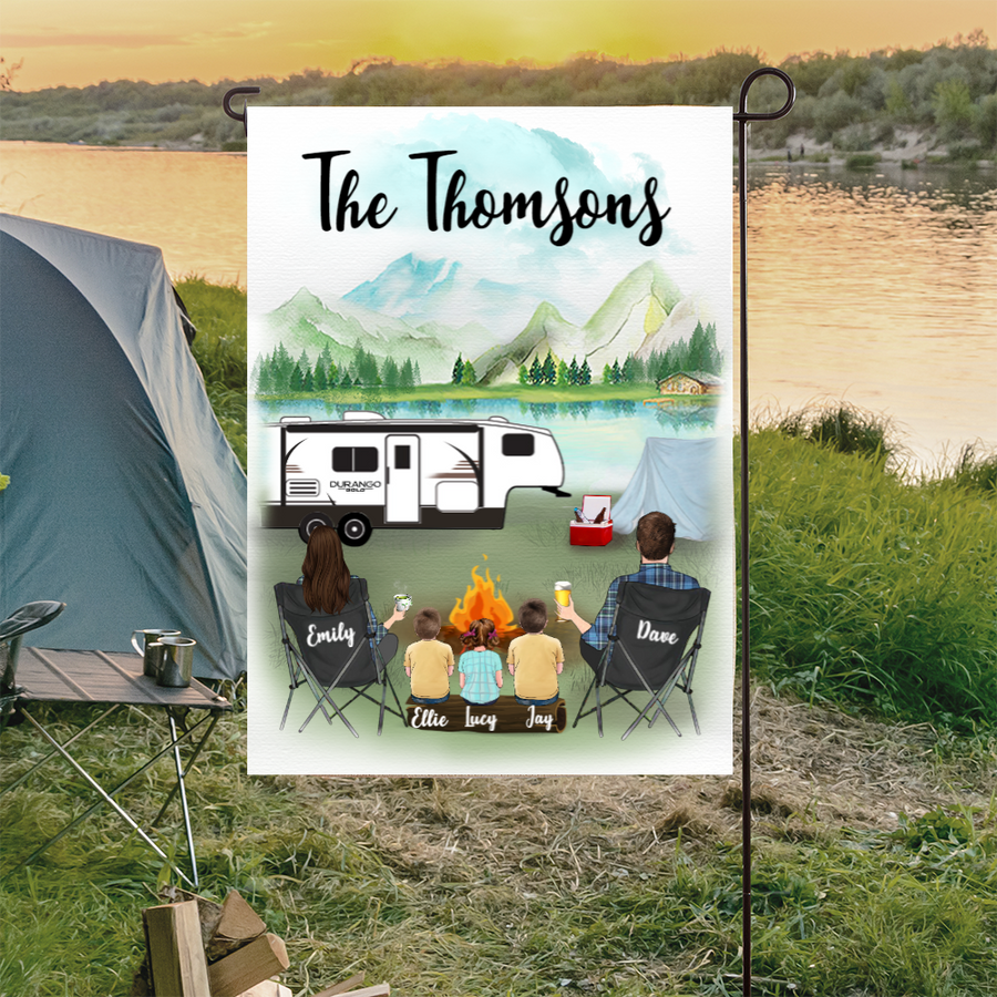 Personalized Garden Flag Sign Gift idea for the whole family, camping lovers - Parents & 3 Kids Camping Personalized Banner  - Happy Campers