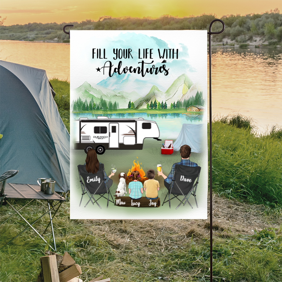 Custom family flag sign - Personalized camping flag gift idea for the whole family, dog lovers, camping lovers - 2 Kids & Dog personalized banner - Fill your life with adventures