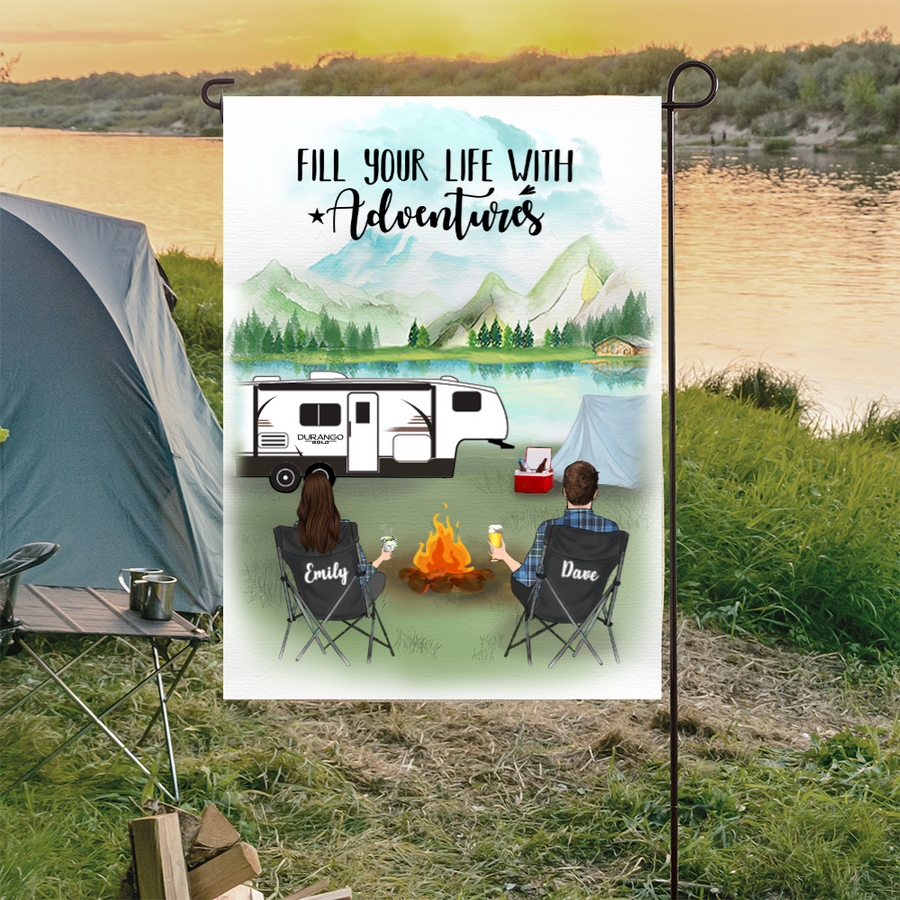 Personalized camping flag sign gift idea for the whole family, couples, camping lovers - Couple personalized banner - The best memories are made camping