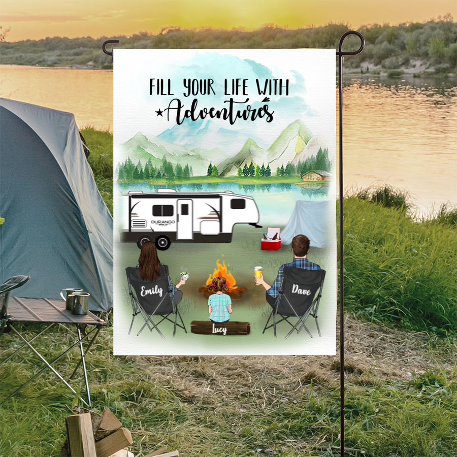 Personalized Garden Flag Sign Gift idea for the whole family, camping lovers - Upto 3 Kids Personalized Banner - Happy Campers