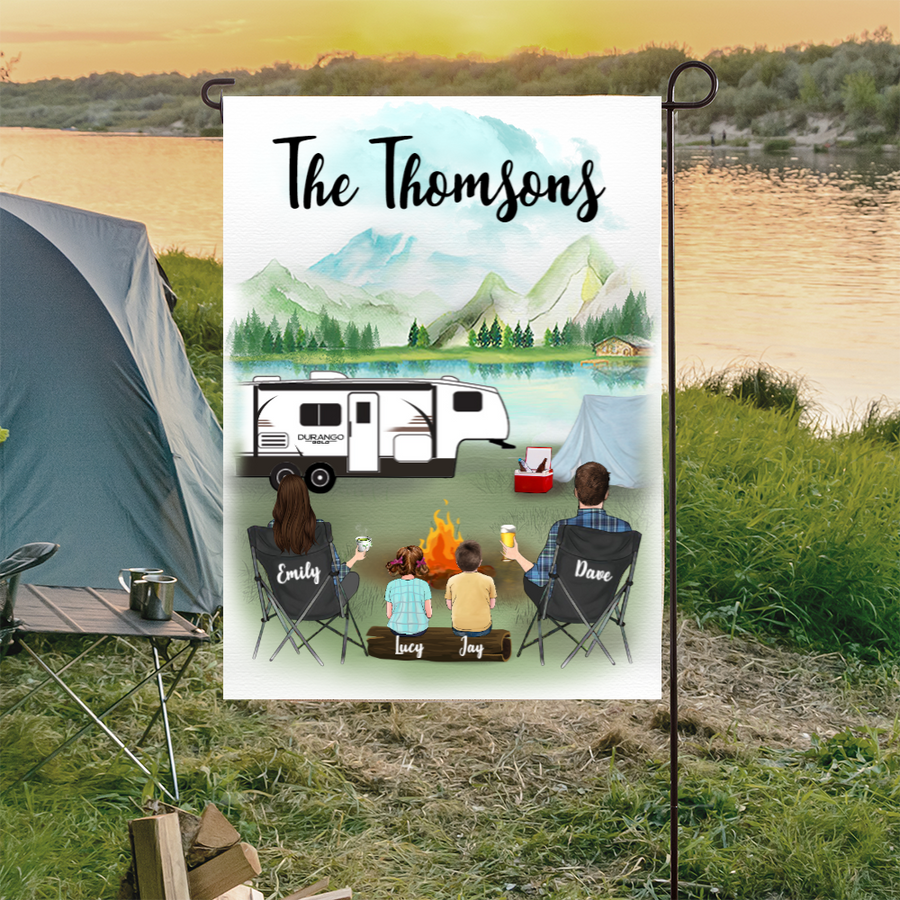 Personalized Garden Flag Sign Gift idea for the whole family, camping lovers - Parents & 2 Kids Camping Personalized Banner - Happy Campers