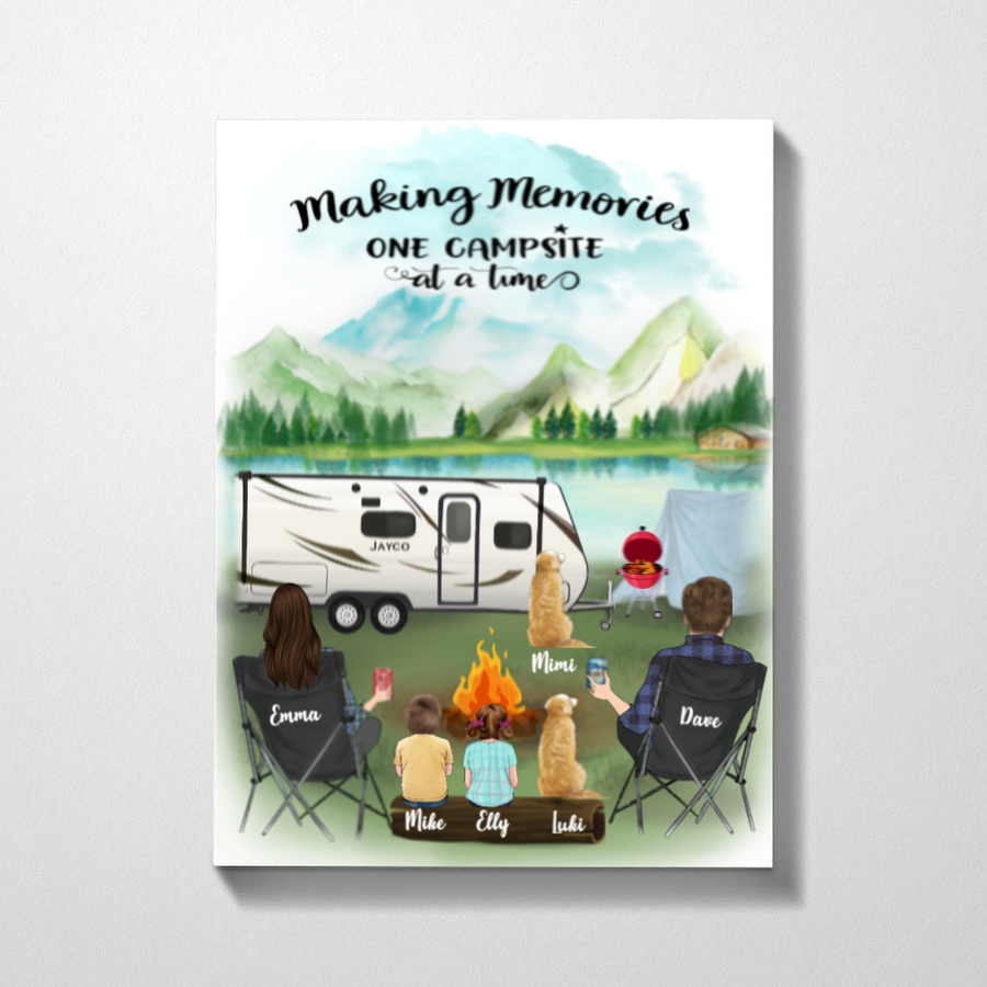 Personalized Family Poster - Best personalized gift for the whole family, dog lovers - Parents, 2 Kids & 2 Dogs camping poster - Making memories one campsite at a time