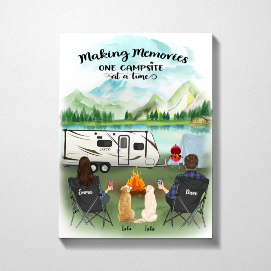 Personalized Dog Poster gift for couple, dog lovers - Valentines day gift for him her boyfriend girlfriend - Couple & 2 Dogs camping poster - Making memories one campsite at a time