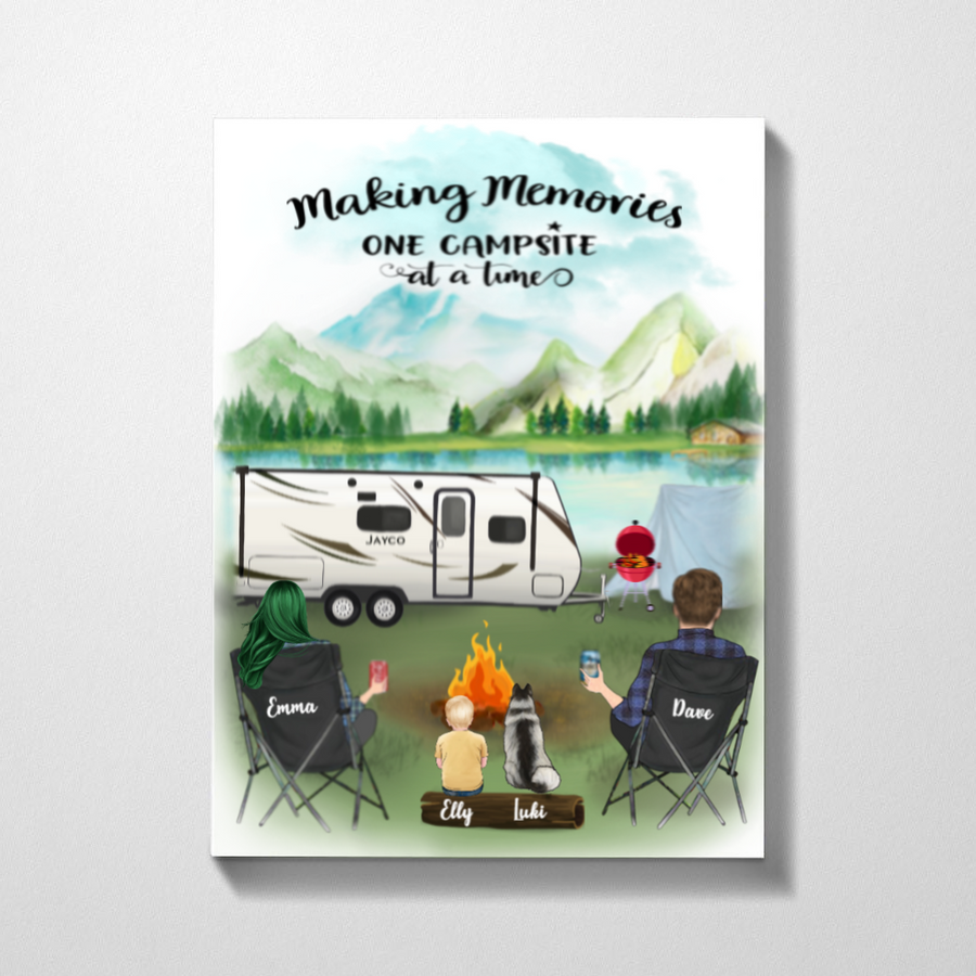 Personalized Family Poster - Best personalized gift for the whole family, dog lovers - Parents, 1 Kid & 1 Dog camping poster - Making memories one campsite at a time