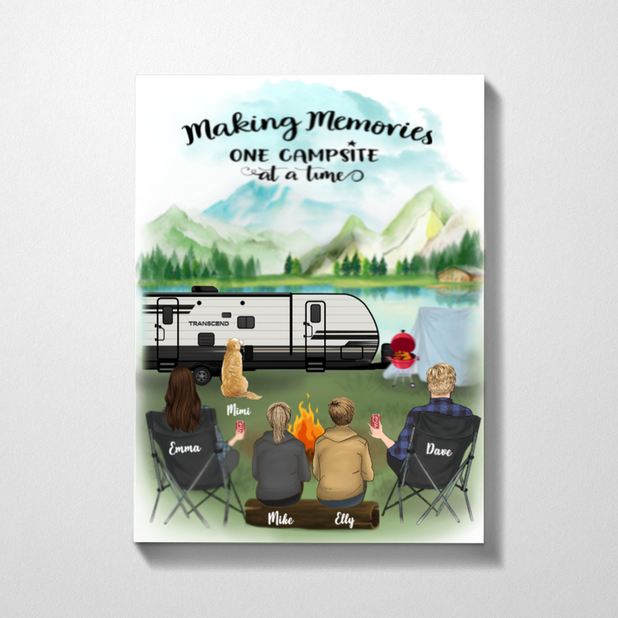 Personalized Family Poster - Best personalized gift for the whole family, camping lovers - Parents with 2 Teens & 1 Pet - Camping Poster