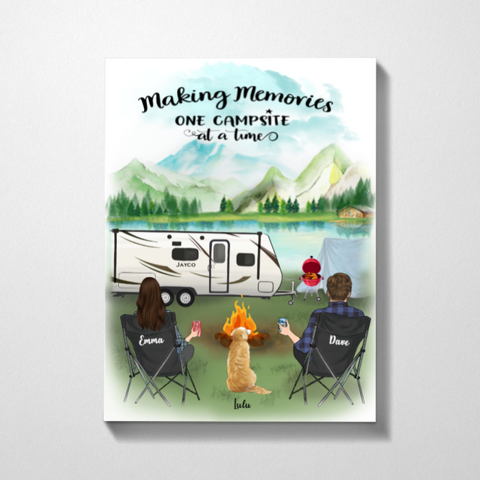 Personalized Dog & Owners Canvas, Gift Idea For The Whole Family, Dog Dad Mom - Valentines day gift for him her boyfriend girlfriend  - Upto 3 Dogs & Couple Camping Canvas - Making memories one campsite at a time