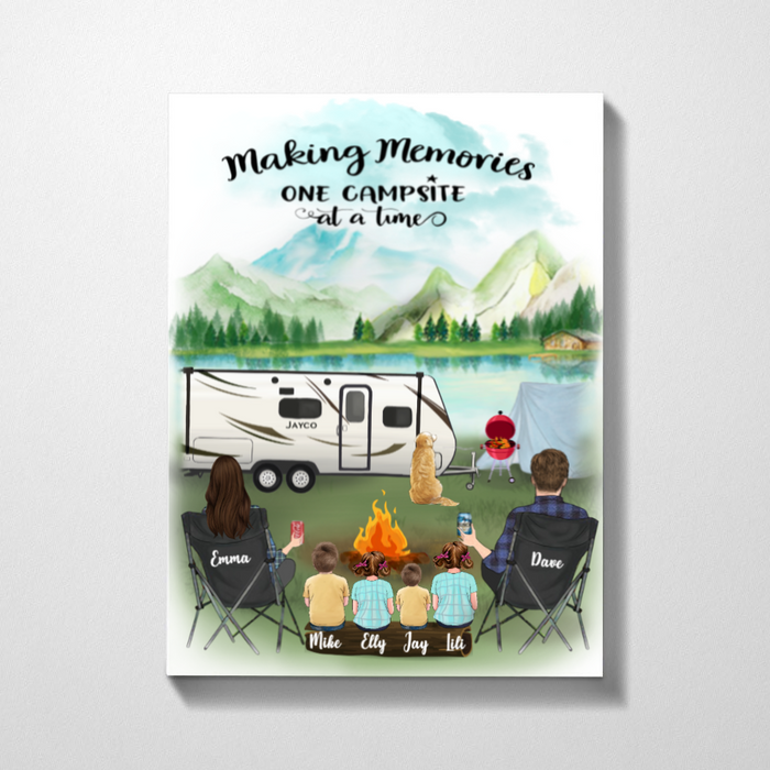 Family With 4 Kids And  1 Dog- Camping - Personalized Canvas, Making memories one campsite at a time