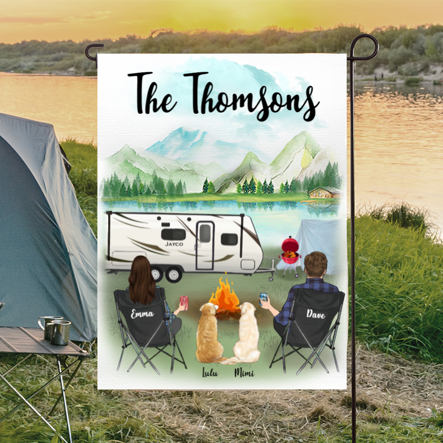 Custom dog flag sign - Personalized camping flag gift idea for the whole family, dog lovers - Couple & 2 Dogs Banner