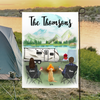 Personalized camping flag sign gift idea for the whole family, dog lovers - Couple & 1 Dog Banner