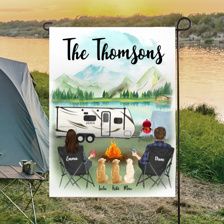 Custom dog flag sign - Personalized camping flag gift idea for the whole family, dog lovers - Couple & 3 Dogs Personalized Banner - Happy Campers